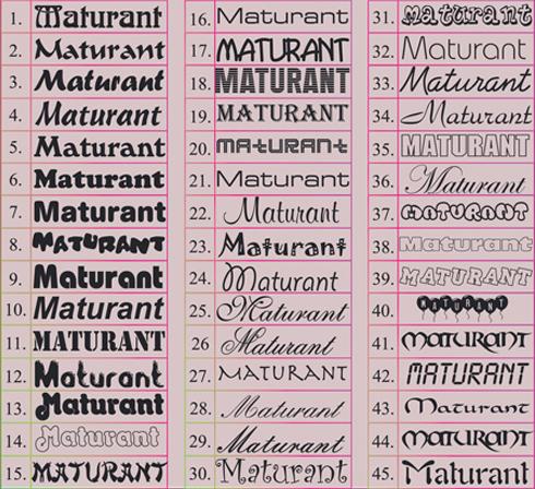 Maturitní šerpy - fonty